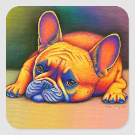Colorful French Bulldog Rainbow Frenchie Stickers