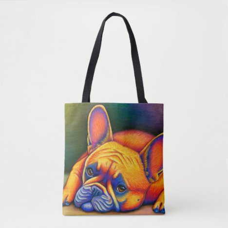 Colorful French Bulldog Rainbow Frenchie Tote Bag