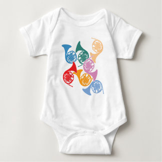 Colorful French Horns Baby Bodysuit