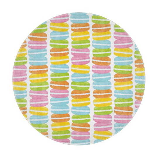 Colorful French Macarons Pattern Cutting Board