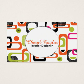 Colorful Fresh Bright Stylish Retro Design Business Card