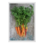 Colorful Fresh Carrots on Wood Table Poster