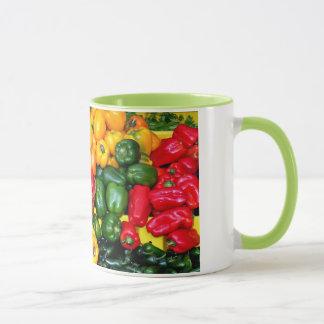 Colorful fresh peppers coffee mug