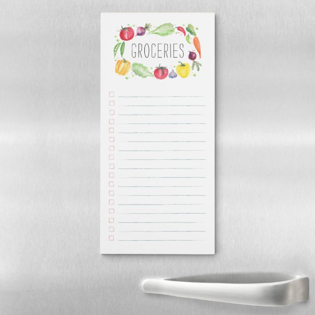 Colorful Fresh Watercolor Vegetables Grocery List Magnetic Notepad