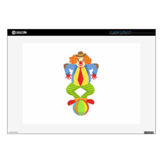 """Colorful Friendly Clown Balancing On Ball In Class Decals For 15"""" Laptops"""