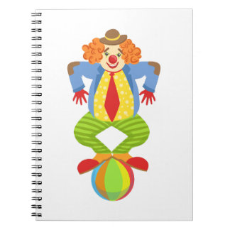 Colorful Friendly Clown Balancing On Ball In Class Notebook