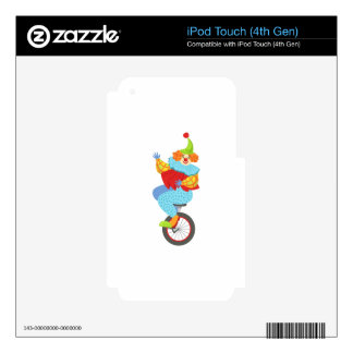 Colorful Friendly Clown Balancing On Unicycle Decal For iPod Touch 4G