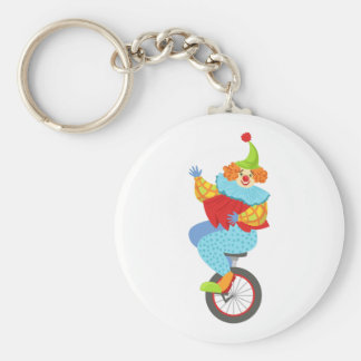 Colorful Friendly Clown Balancing On Unicycle Keychain