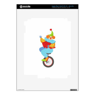 Colorful Friendly Clown Balancing On Unicycle Skin For iPad 3