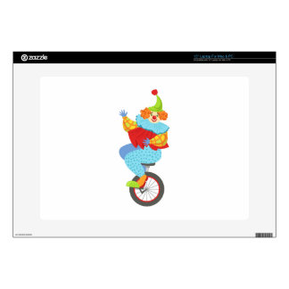 Colorful Friendly Clown Balancing On Unicycle Skin For Laptop