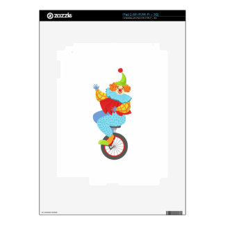 Colorful Friendly Clown Balancing On Unicycle Skin For The iPad 2