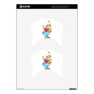 Colorful Friendly Clown Balancing On Unicycle Xbox 360 Controller Skin