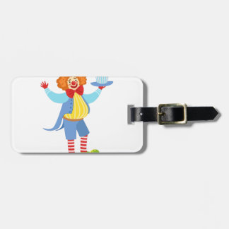 Colorful Friendly Clown Holding Top Hat In Classic Bag Tag