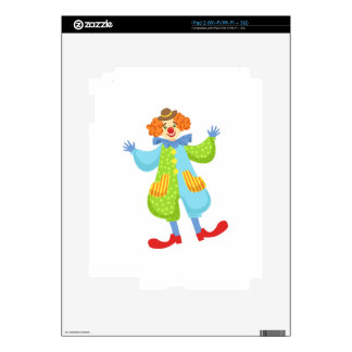 Colorful Friendly Clown In Bowler Hat In Classic O iPad 2 Decals