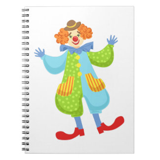 Colorful Friendly Clown In Bowler Hat In Classic O Notebook