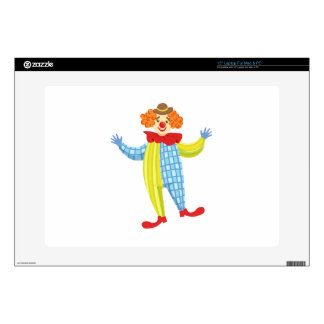 Colorful Friendly Clown In Derby Hat And Classic Decals For Laptops