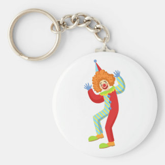Colorful Friendly Clown Performing In Classic Outf Keychain