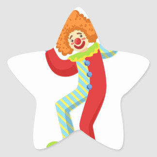 Colorful Friendly Clown Performing In Classic Outf Star Sticker