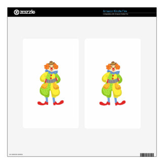 Colorful Friendly Clown Playing Accordion In Class Decal For Kindle Fire