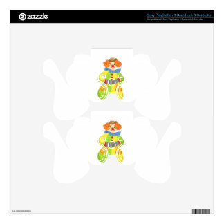 Colorful Friendly Clown Playing Accordion In Class PS3 Controller Skins