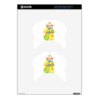 Colorful Friendly Clown Playing Accordion In Class Xbox 360 Controller Decal