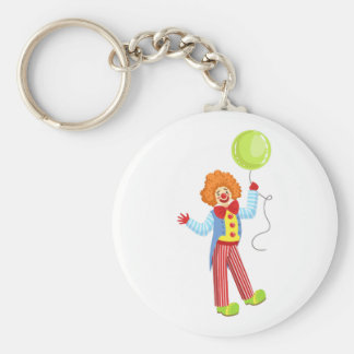 Colorful Friendly Clown With Balloon In Classic Ou Keychain