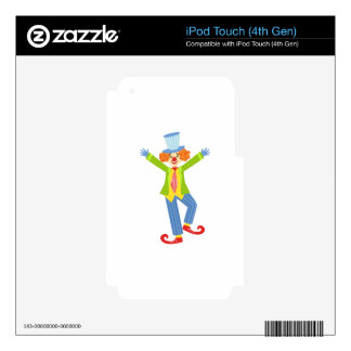 Colorful Friendly Clown With Curled Shoes In Class Skins For iPod Touch 4G