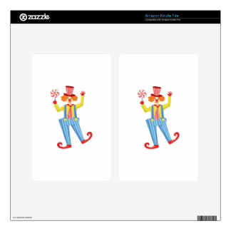 Colorful Friendly Clown With Lollypop In Classic O Decal For Kindle Fire