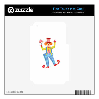 Colorful Friendly Clown With Lollypop In Classic O iPod Touch 4G Decal