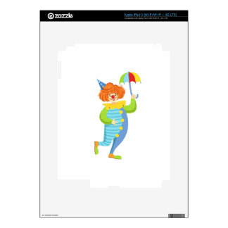 Colorful Friendly Clown With Mini Umbrella Decal For iPad 3