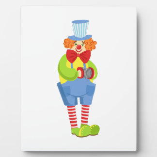 Colorful Friendly Clown With Miniature Accordion I Plaque