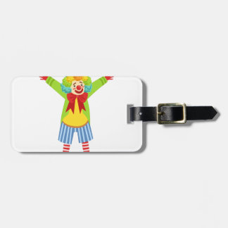 Colorful Friendly Clown With Multicolor Bag Tag