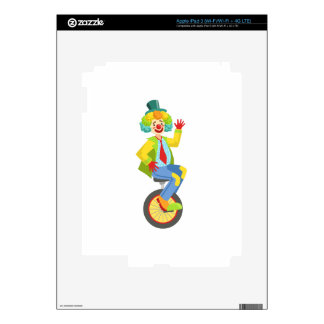 Colorful Friendly Clown With Rainbow Wig In Classi Decals For iPad 3