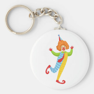 Colorful Friendly Clown With Tie In Classic Outfit Keychain