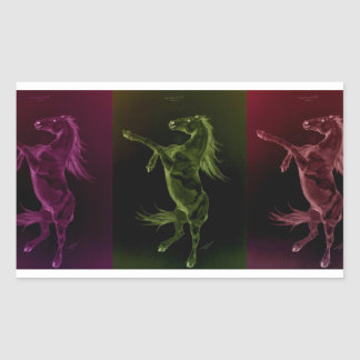 Colorful Friesian horses rearing Sticker