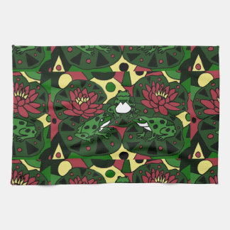 Colorful Frogs on Lily Pads Abstract Art Hand Towels