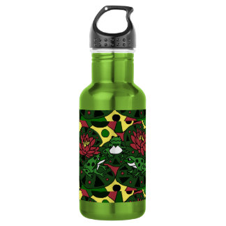 Colorful Frogs on Lily Pads Abstract Art Water Bottle
