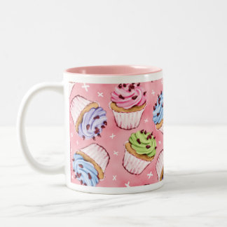 Colorful Frosted Cupcakes Pattern Two-Tone Coffee Mug
