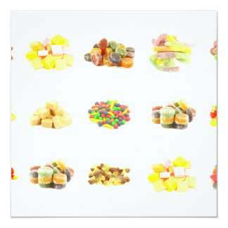 Colorful Fruit Flavored Candy Isolated Background Card