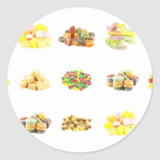 Colorful Fruit Flavored Candy Isolated Background Classic Round Sticker