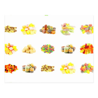 Colorful Fruit Flavored Candy Isolated Background Postcard
