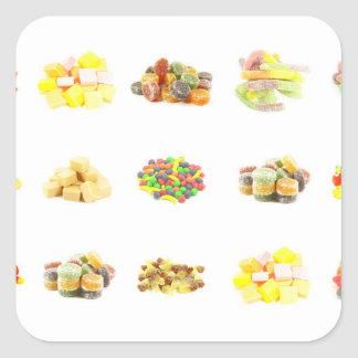 Colorful Fruit Flavored Candy Isolated Background Square Sticker