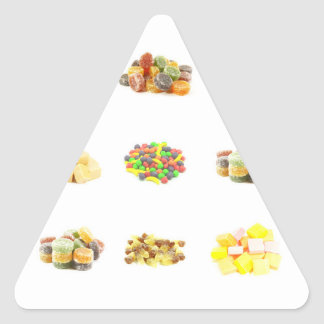 Colorful Fruit Flavored Candy Isolated Background Triangle Sticker