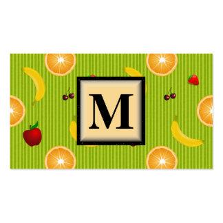 Colorful Fruit Monogram Business Card