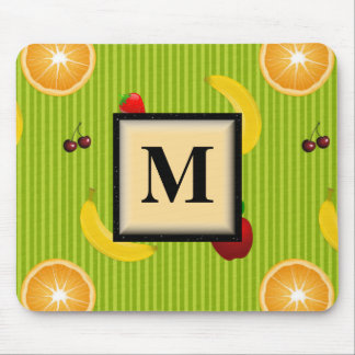 Colorful Fruit Monogram Mouse Pad