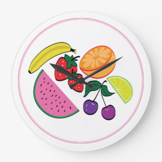Colorful Fruit Summer, Cool, Fun Large Clock