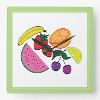 Colorful Fruit Summer, Cool, Fun Square Wall Clock