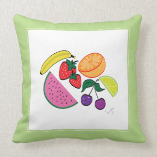 Colorful Fruit Summer, Cool, Fun Throw Pillow