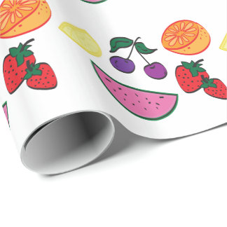 Colorful Fruit Summer Pattern, Cool Wrapping Paper