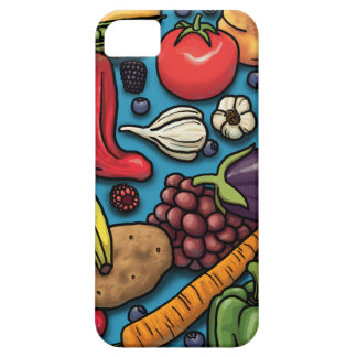 Colorful Fruits and Vegetables on Blue iPhone SE/5/5s Case